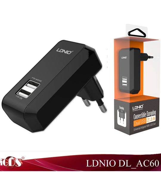 Original Ldnio DL AC60 USB Travel Charger adapter Input For AC100-240V output 5V 2.1A 2 port