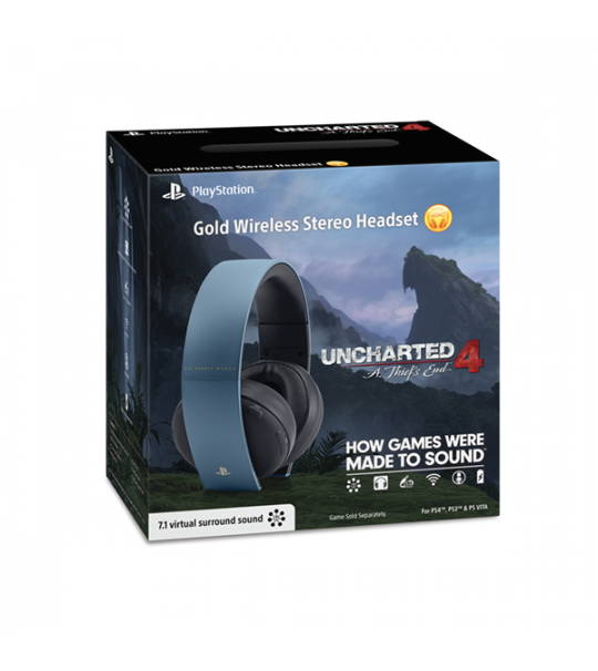 Limited Edition Sony Uncharted 4 Gold Wireless Headset – Gray Blue