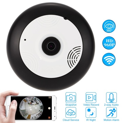 F-SHEILD 0111W FishEye HD Wifi Panoramic 360 Degree Smart Home Office Retails IP Camera