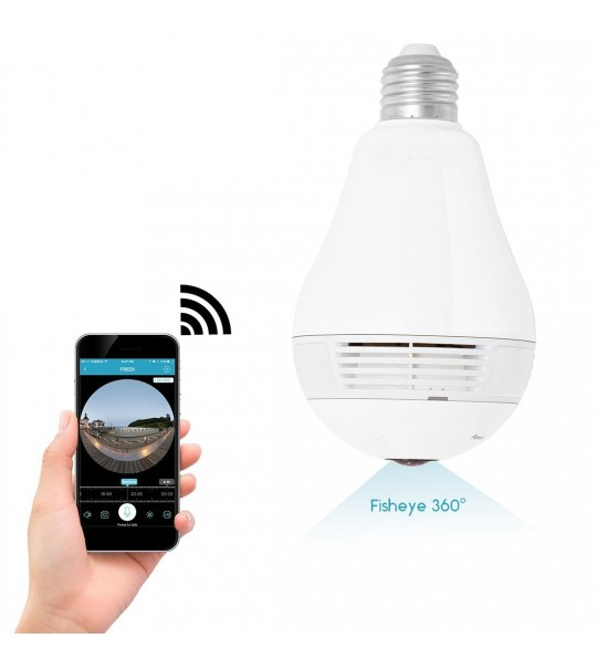 F-SHEILD 0107W Bulb Globe FishEye HD Wifi Panoramic 360 Degree Smart Home Office Retails IP Camera