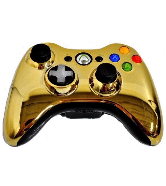 Microsoft Xb360 Wired Chrome Gold Controller Window Compatible