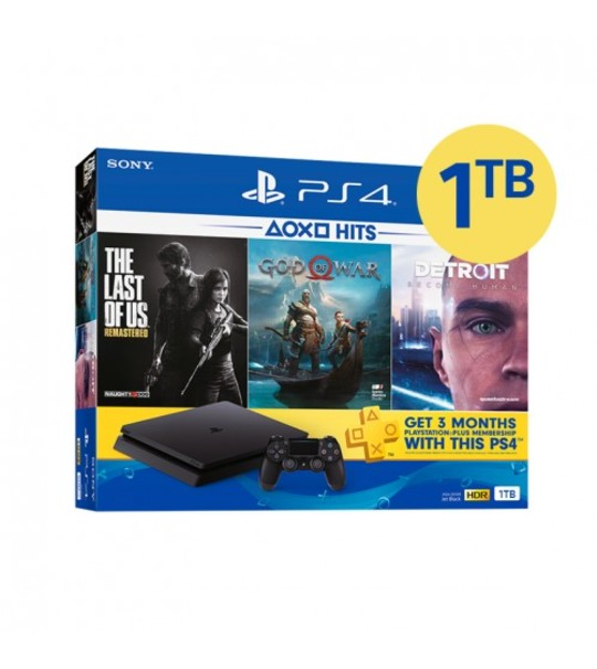 PS4 SLIM 1TB HITS 3 BUNDLE ASIA SET + 1 MYSTERY GAMES (TOTAL 4GAMES)