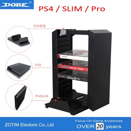 DOBE MULTIFUNTIONAL STORAGE STAND KIT FOR PS4 PRO/SLIM/PHAT/X-ONE - BLACK