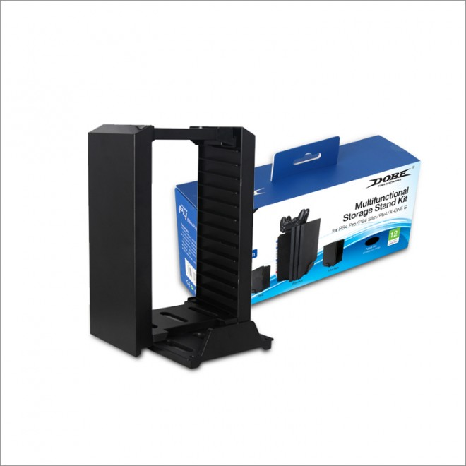 DOBE Multifunctional Storage Stand Kit For PS4 PRO/Slim/Phat/X-ONE S - Black Color-TP4-025W