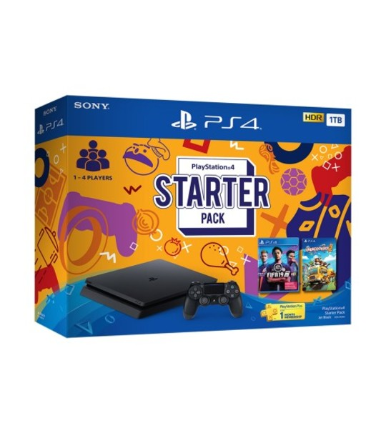PS4 SLIM 1TB STARTER PACK ASIA SET + FREE 1 MYSTERY GAMES (TOTAL 3 GAMES)
