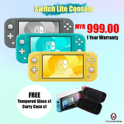 NINTENDO SWITCH LITE TURQUOISE GREEN LOCAL SET 1 YEAR WARRANTY + FREE TEMPERED GLASS + CARRY CASE