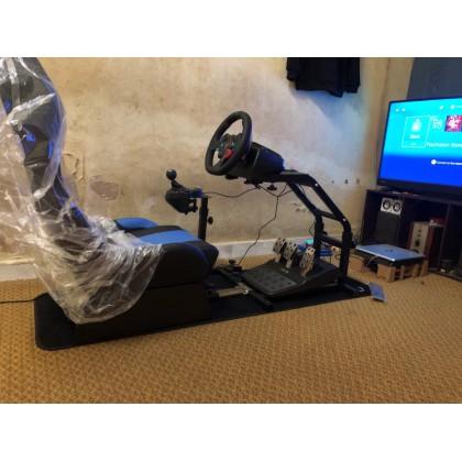 FOLDABLE EVOLUTION GT RACING SIMULATION SEAT BLACK/BLUE + GEAR SHIFT HOLDER - GTX-010