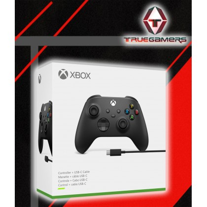 XBOX ONE S WIRELESS CONTROLLER CARBON BLACK + USB